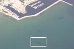 Aerial photo showing location of wreck near City of Alpena Marina.