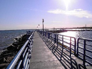 A portion of the City of Alpena Bi-Path juts out into Lake Huron on a breakwall