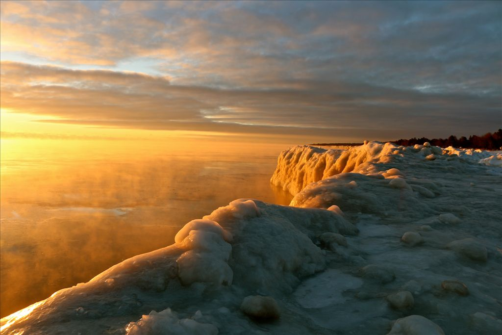 Ice formations along Lake Huron