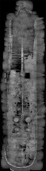 Photomosaic showing arch and salvage damage at bow.