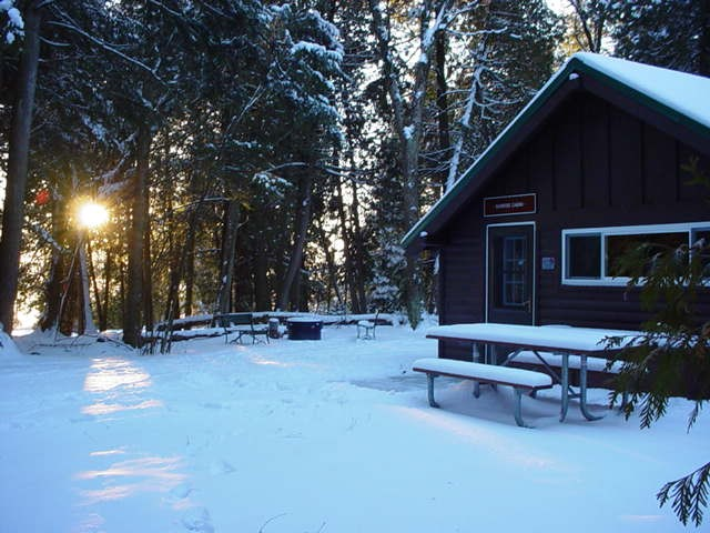 Winter Cabin Rental at Harrisville State Park